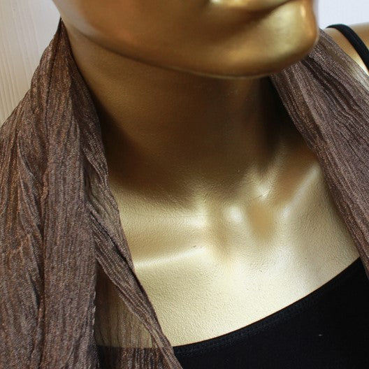 antique bronze tone organza scarf