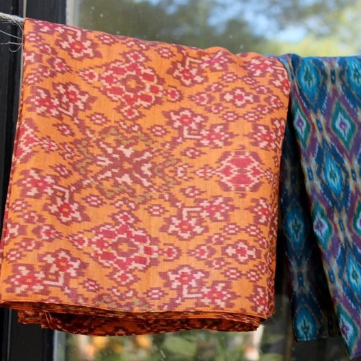 orange silk scarf ikat weave scarf