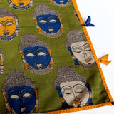 scarf with buddha faces