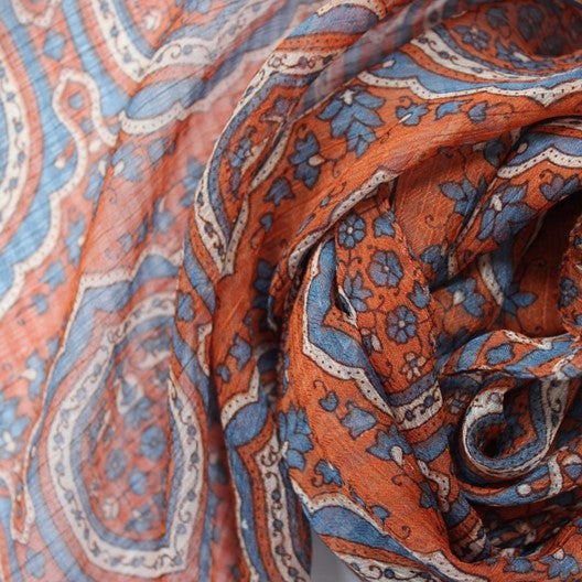 orange chiffon scarf with arabesque patterns
