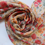 peach and coral flower scarf