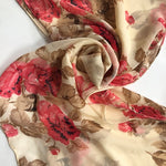 cream chiffon scarf with roses