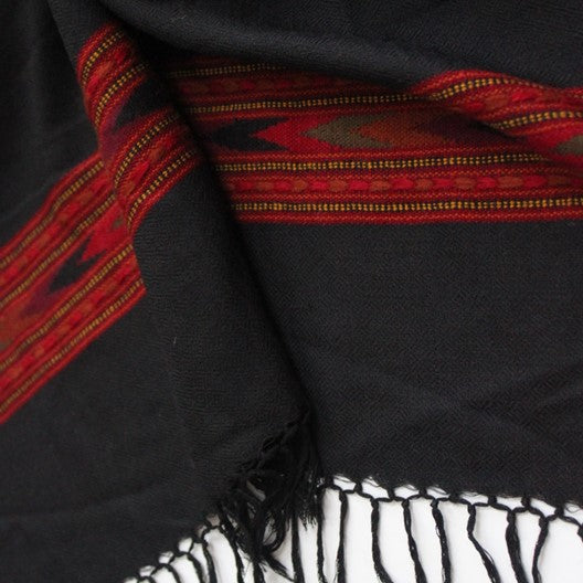 black winter scarf with red border