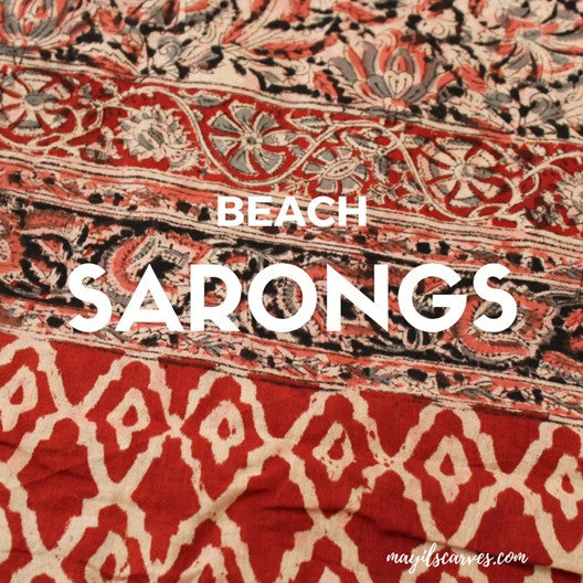 cotton scarf sarong - red and cream