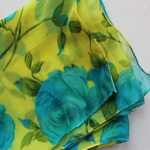 yellow chiffon scarf with blue roses - reg or infinity