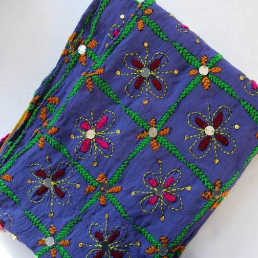 lilac colored scarf with embroidery work