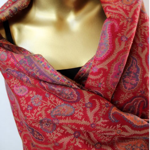 red kani wool shawl