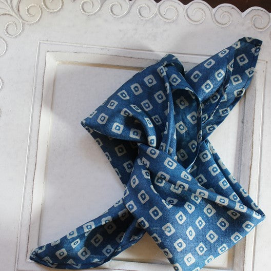 blue silk mini square scarf mayil 2020