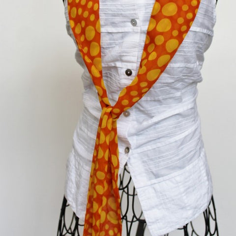 orange yellow polka dot scarf