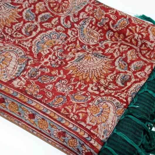 kalamkari scarf with ikat borders - rust red and green