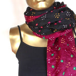 black and fuchsia  bandhani silk scarf by Mayil