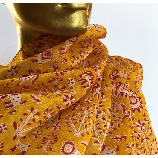 yellow silk warli scarf - forest animals