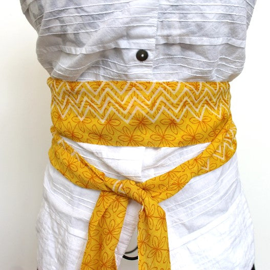 narrow chiffon scarf belt yellow