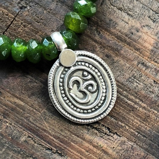 silver om pendant evil eye necklace