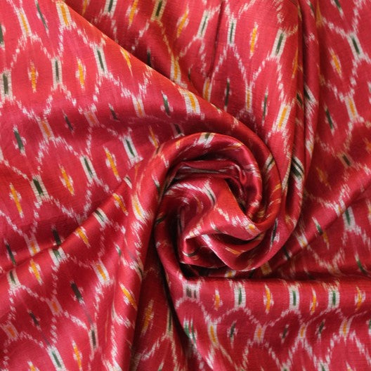 red silk scarf ikat weave scarf