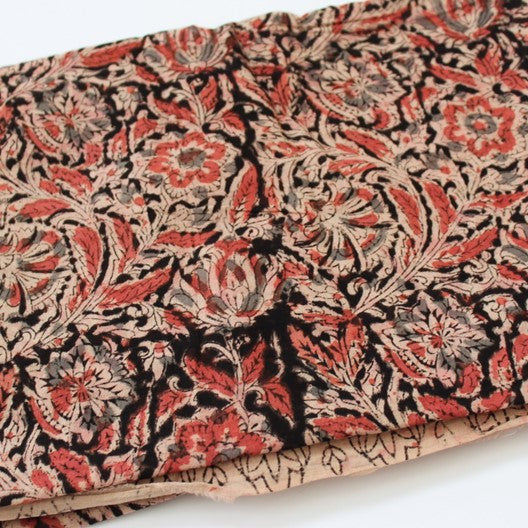 kalamkari cotton scarf in red, black and cream