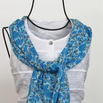 light weight colorful blue scarves