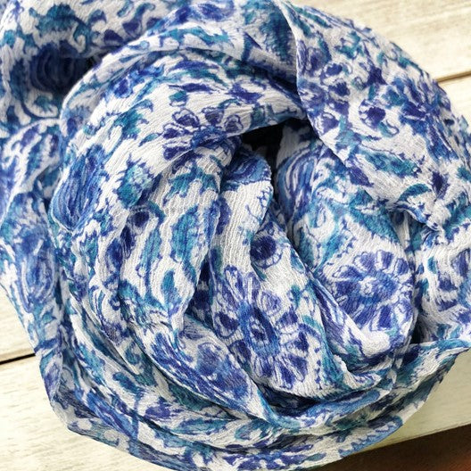 chiffon scarf with blue flowers