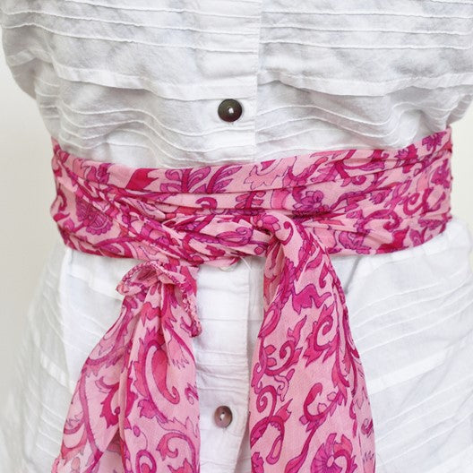 pink scarf as a belt