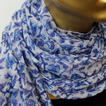 white and blue chiffon scarf