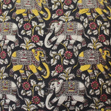 kalamkari elephant block print fabric cushion