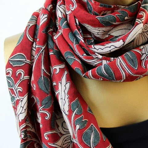 bird and vine kalamkari scarf