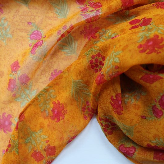 orange yellow chiffon scarf with small flowers