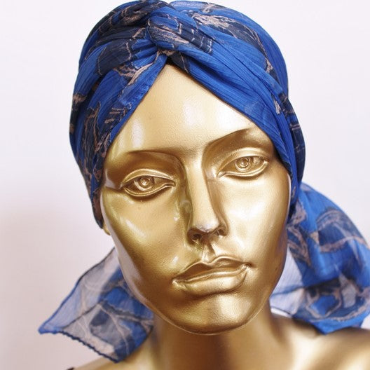 chemo head scarf blue marble print