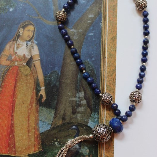 Lapis and silver beaded blue necklace
