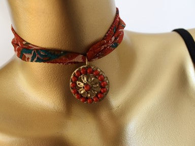Fabric choker necklace - mandalas