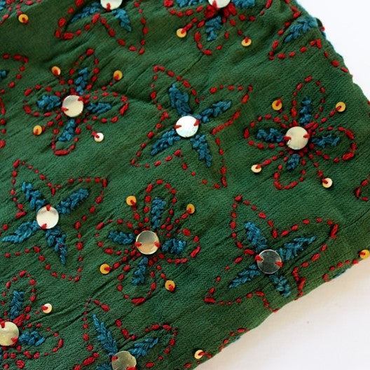 Embroidered and sequined scarf -  pine green