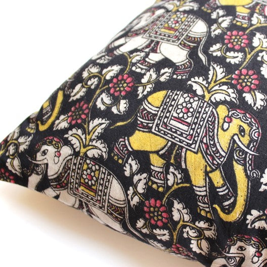 elephant print cushion cover - black, white and yellow