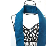blue silk narrow and long scarf