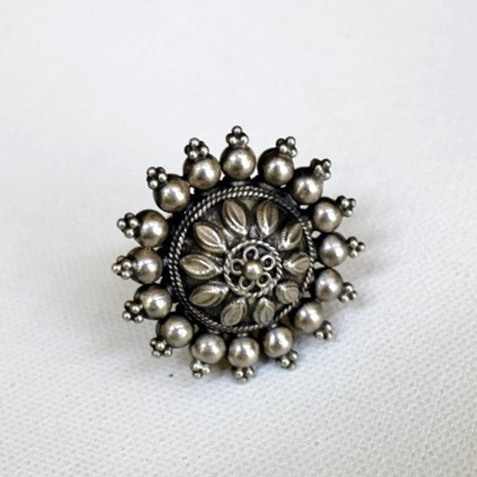 silver flower adjustable ring