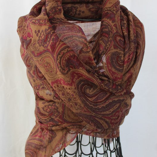 winter wool scarf brown with pink paisleys