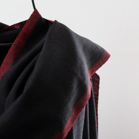 black scarf red border wool scarf