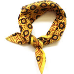 mayil 2020 mini square scarf in yellow and black ajrak print