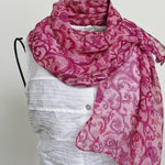 pink floral chiffon scarf