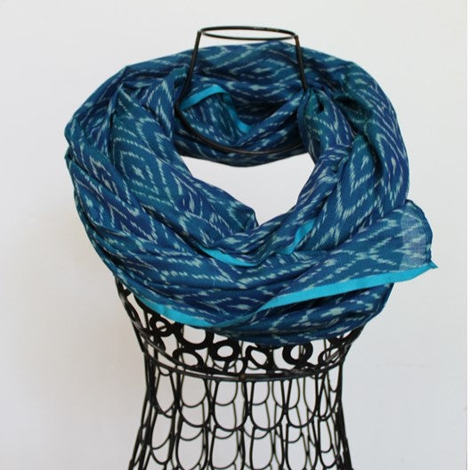 blue ikat scarf with diamond weave