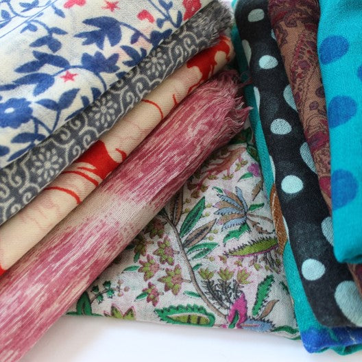 assorted collection of winter wool scarves