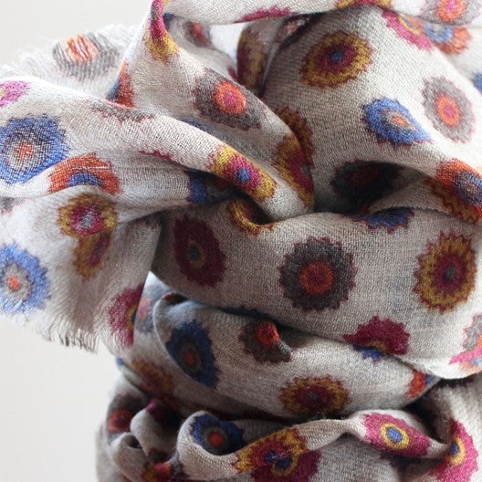 soft wool scarf - flowers