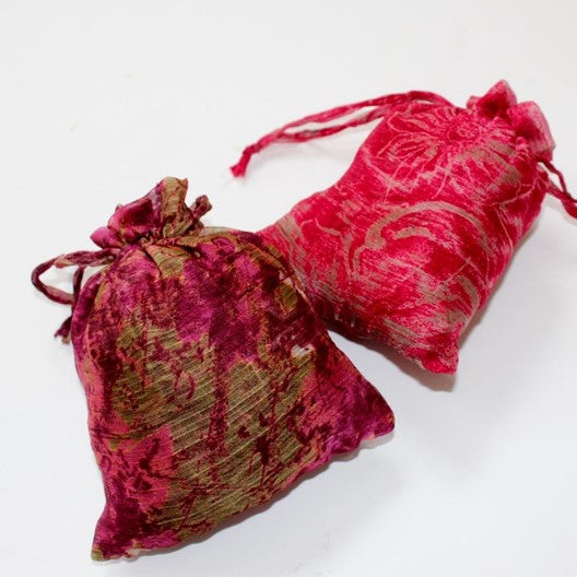 ruffle scarves from Mayil packed in a matching fabric bag