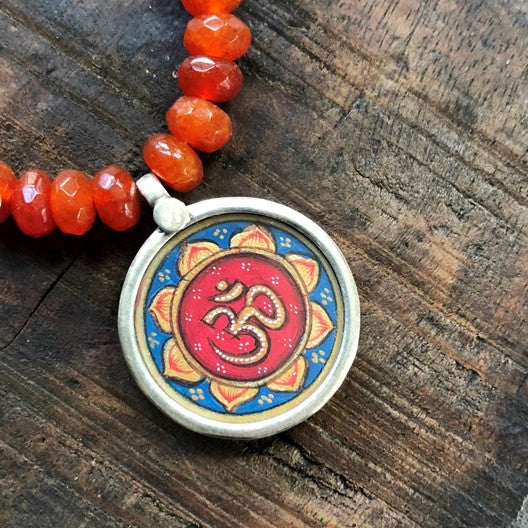 hand painted om talisman amulet necklace
