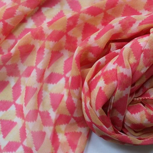cream chiffon scarf with geometric motifs