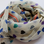 soft wool scarf - off white with hearts