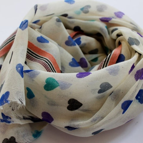 soft wool scarf with hearts