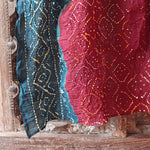 burgundy and blue bandhani cotton scarf