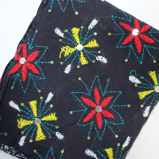 black scarves with embroidery