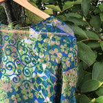 blue and green summer poncho resort wear