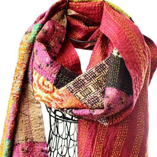silk sari kantha work scarf - raspberry rose